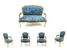 Prunk Sitzgruppe gold-blau 5-teillig