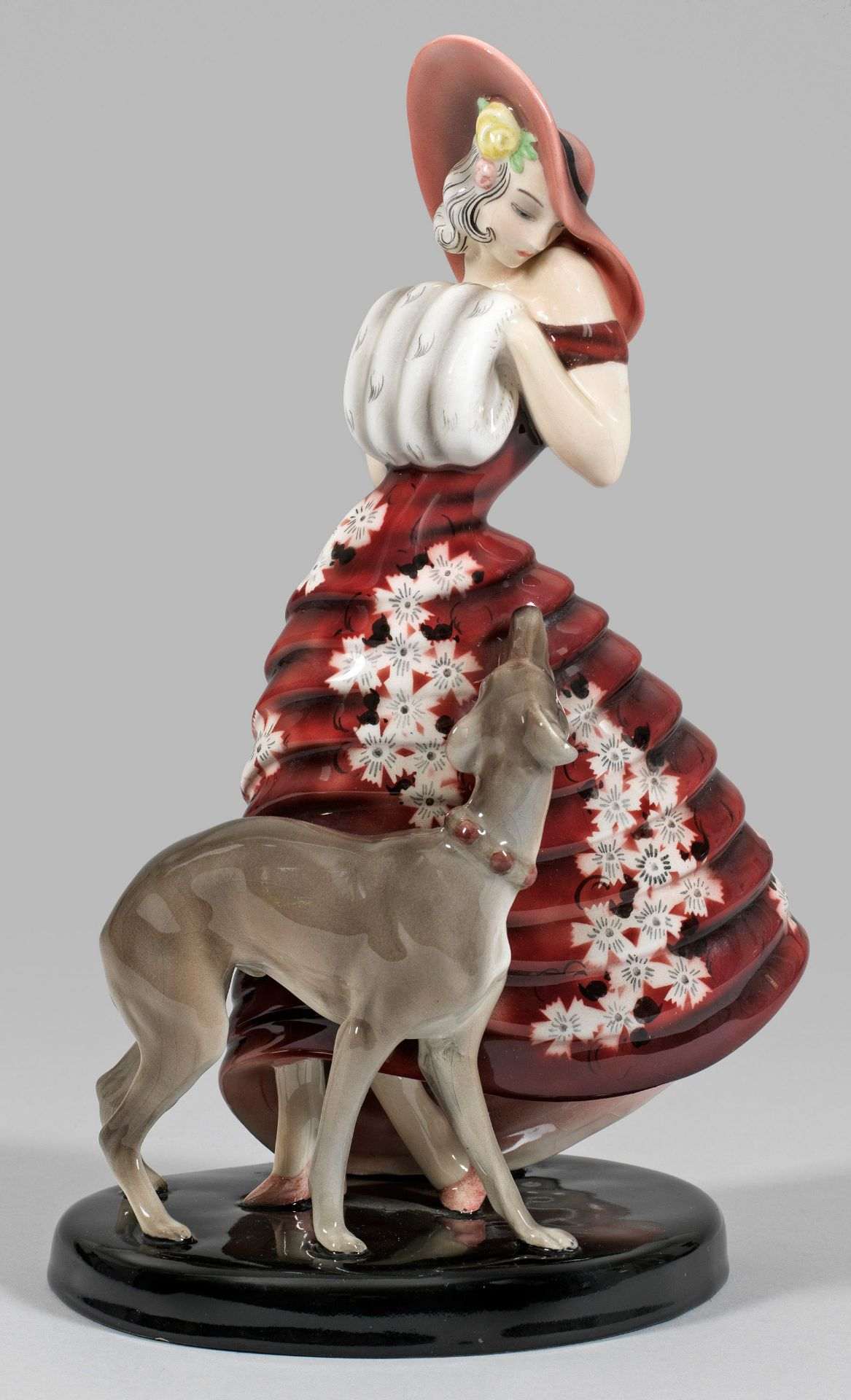 Art Déco-Figur einer Dame mit Windhund