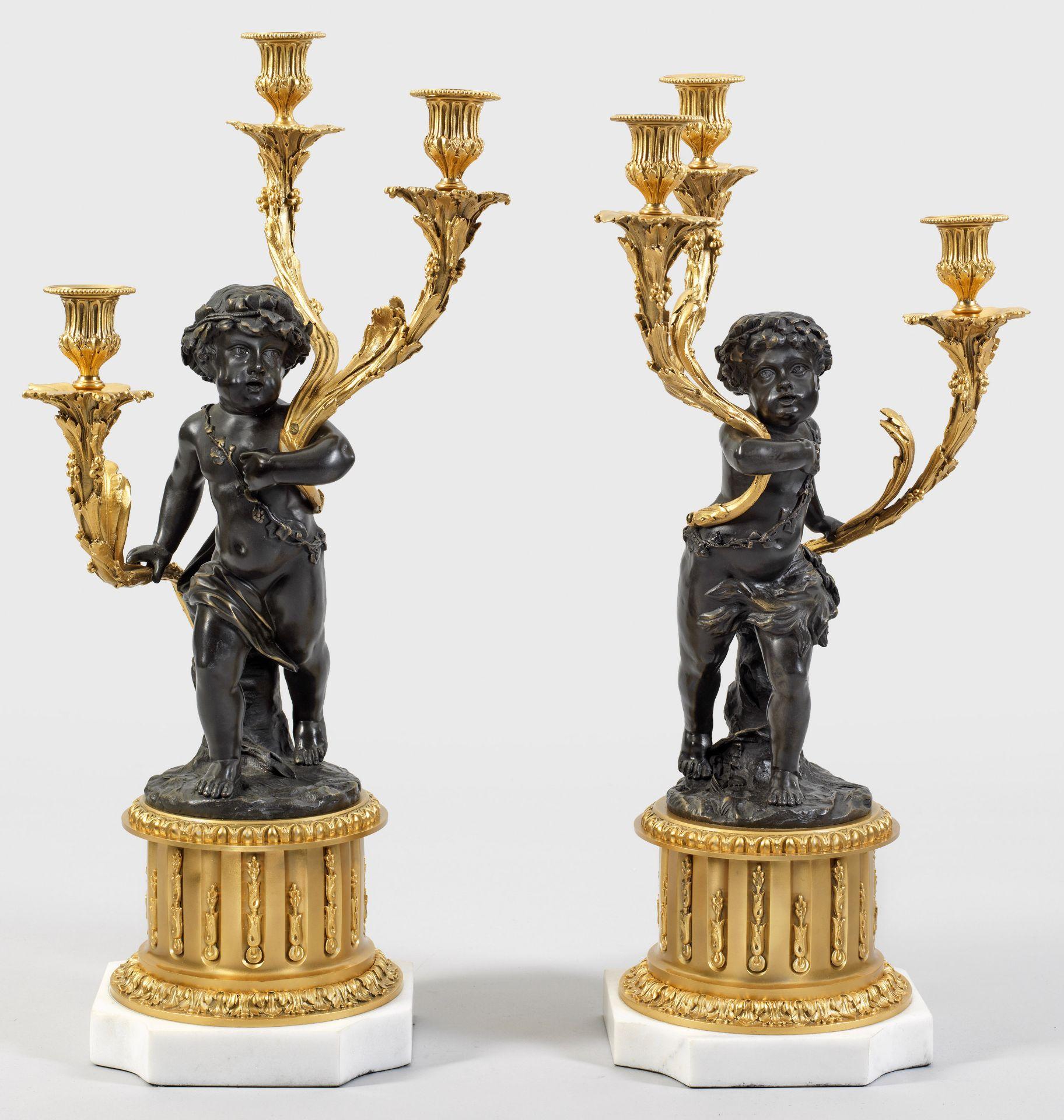 Paar große Louis XV-Skulpturenleuchter