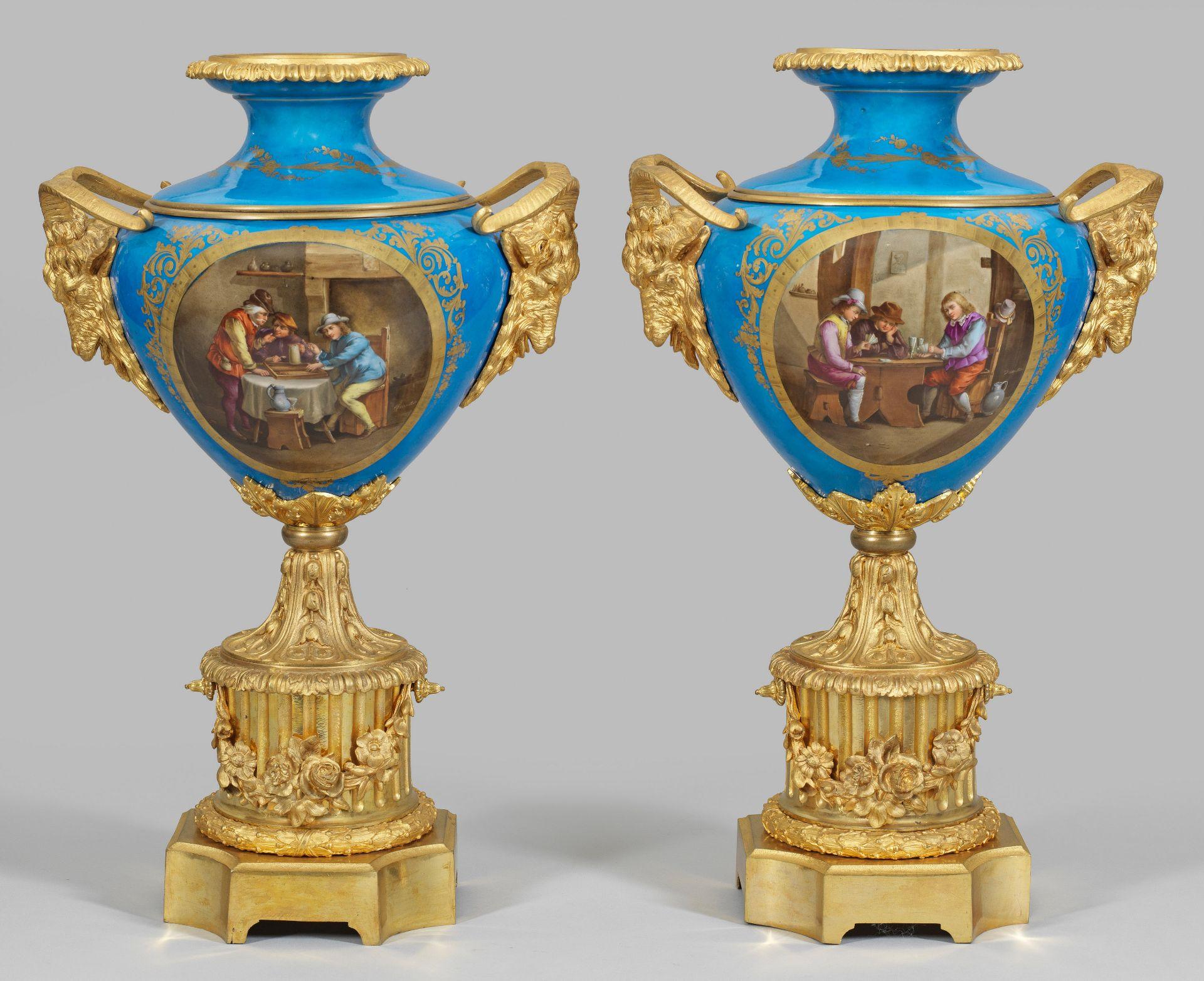 Paar große prächtige Napoleon III.-Ziervasen