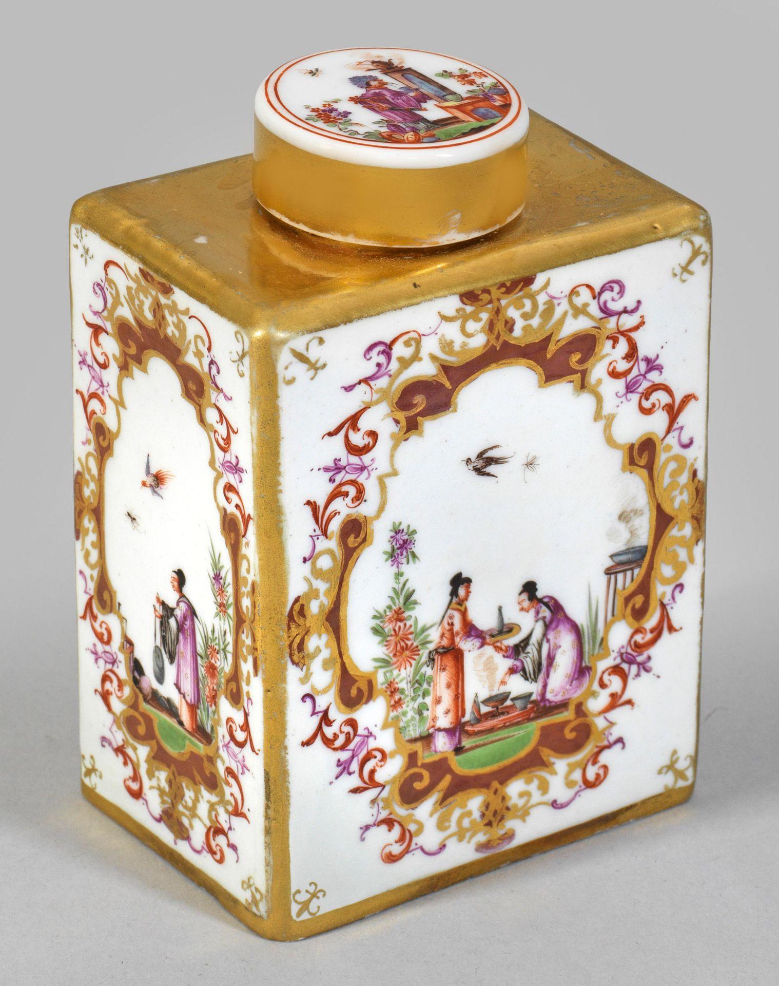 Teedose mit Hoeroldt-Chinoiserien