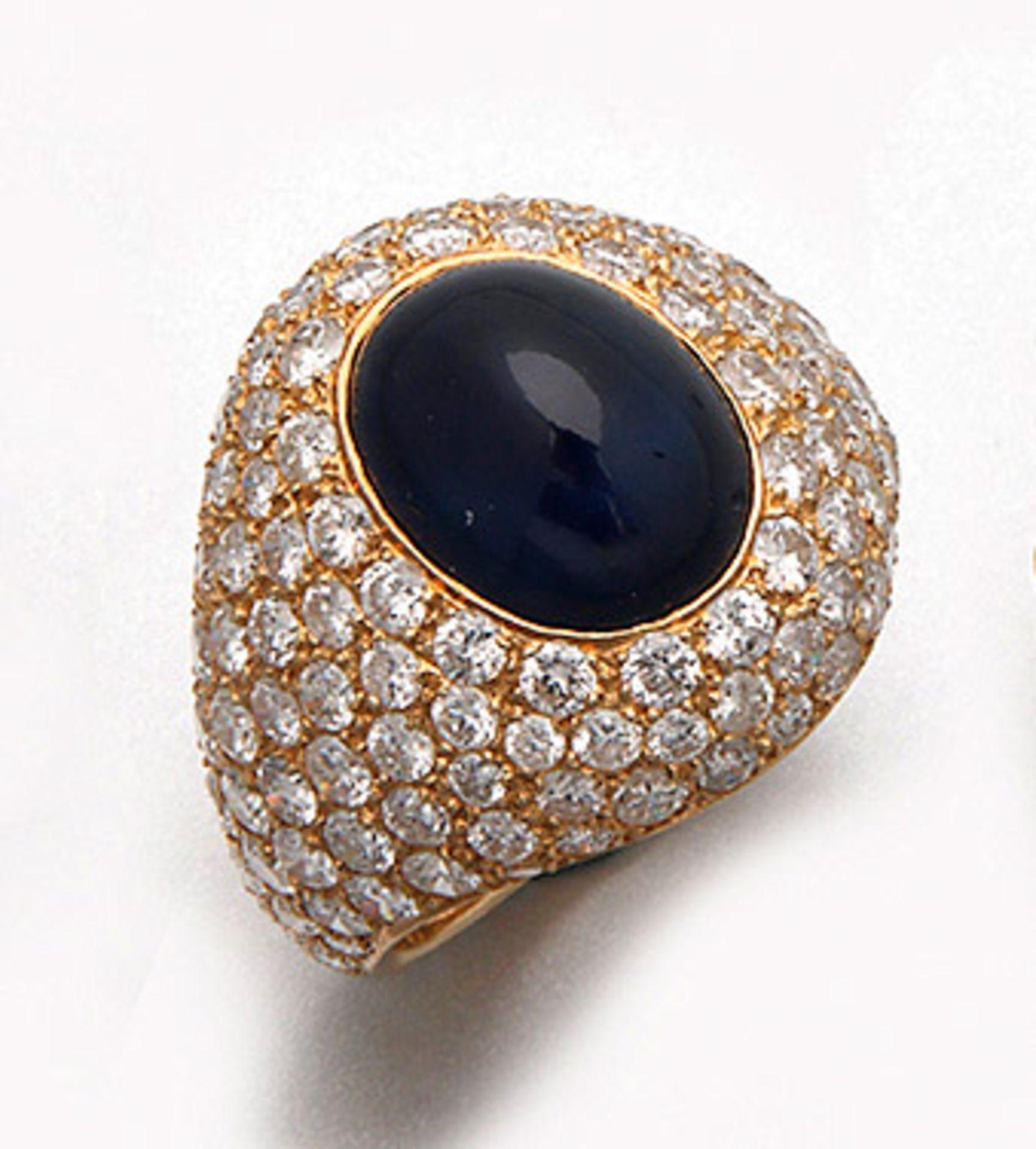 Eleganter Saphir-Brillantring