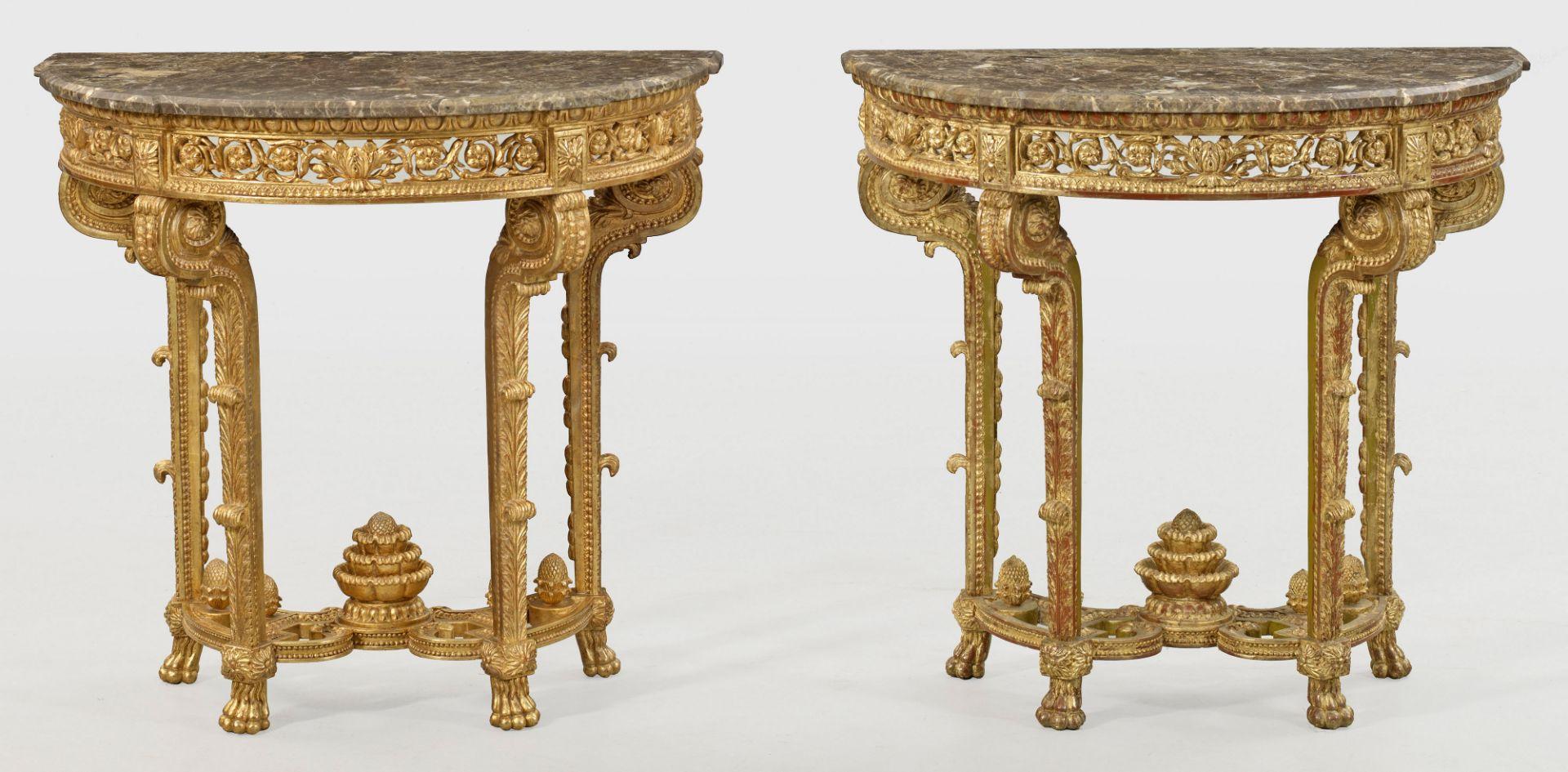 Paar repräsentative Konsoltische im Louis XVI-Stil