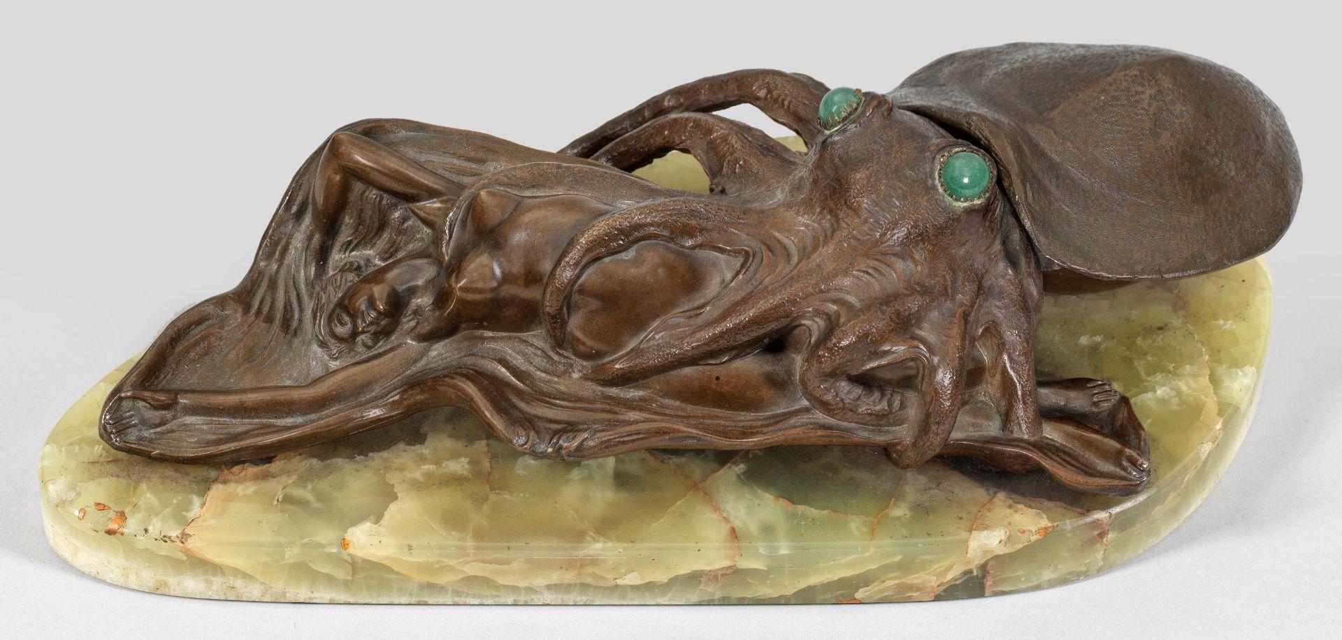 Figürliches Jugendstil-Schreibzeug mit Oktopus und Akt