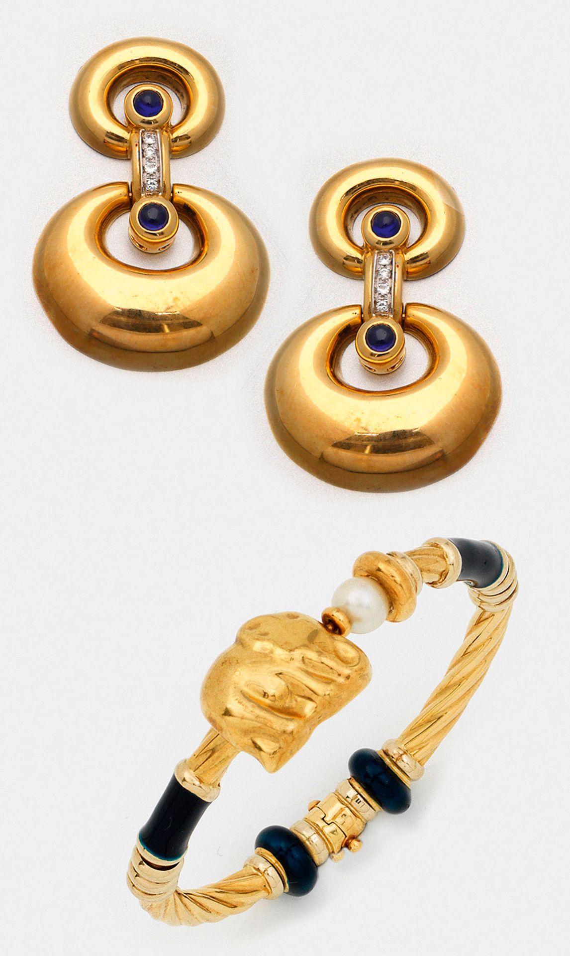 Paar Saphir-Diamant-Ohrringe mit Armreif