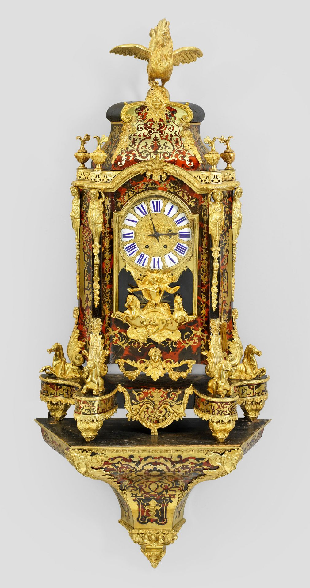Monumentale Napoleon III Boulle-Pendule mit Konsole