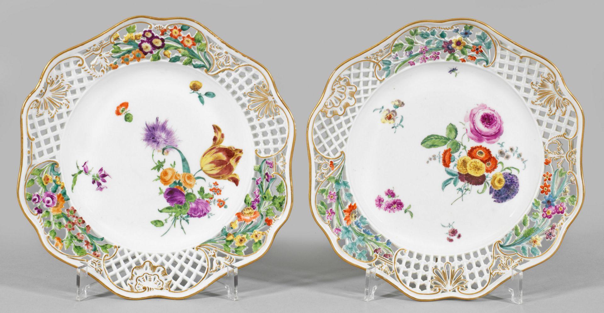 """Paar Dessertteller mit Dekor """"Brühl'scher Durchbruch"""" - Bild 2 aus 2"""