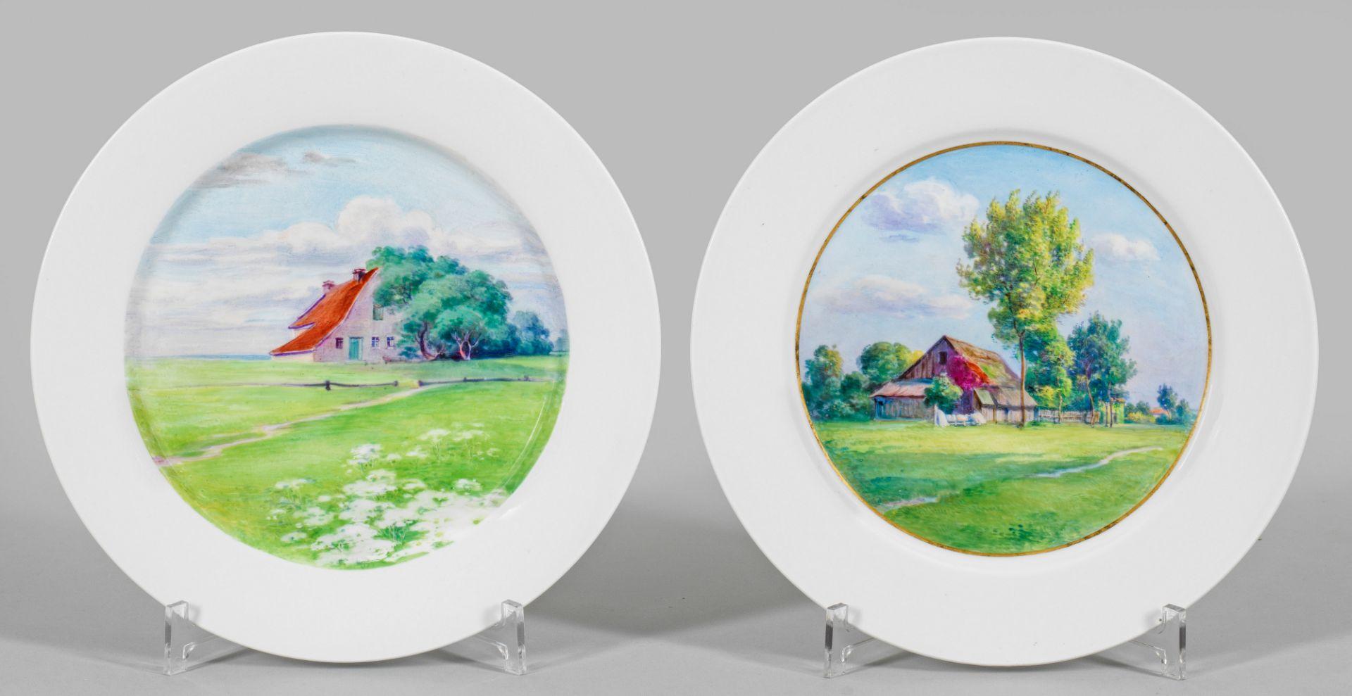 Paar Jugendstil-Teller mit Landschaftsmotiven