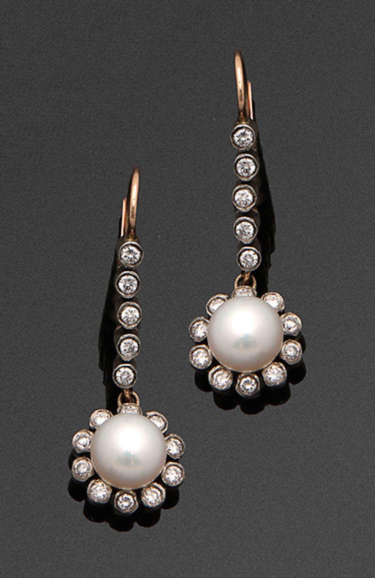 Paar russische Perl-Diamantohrgehänge