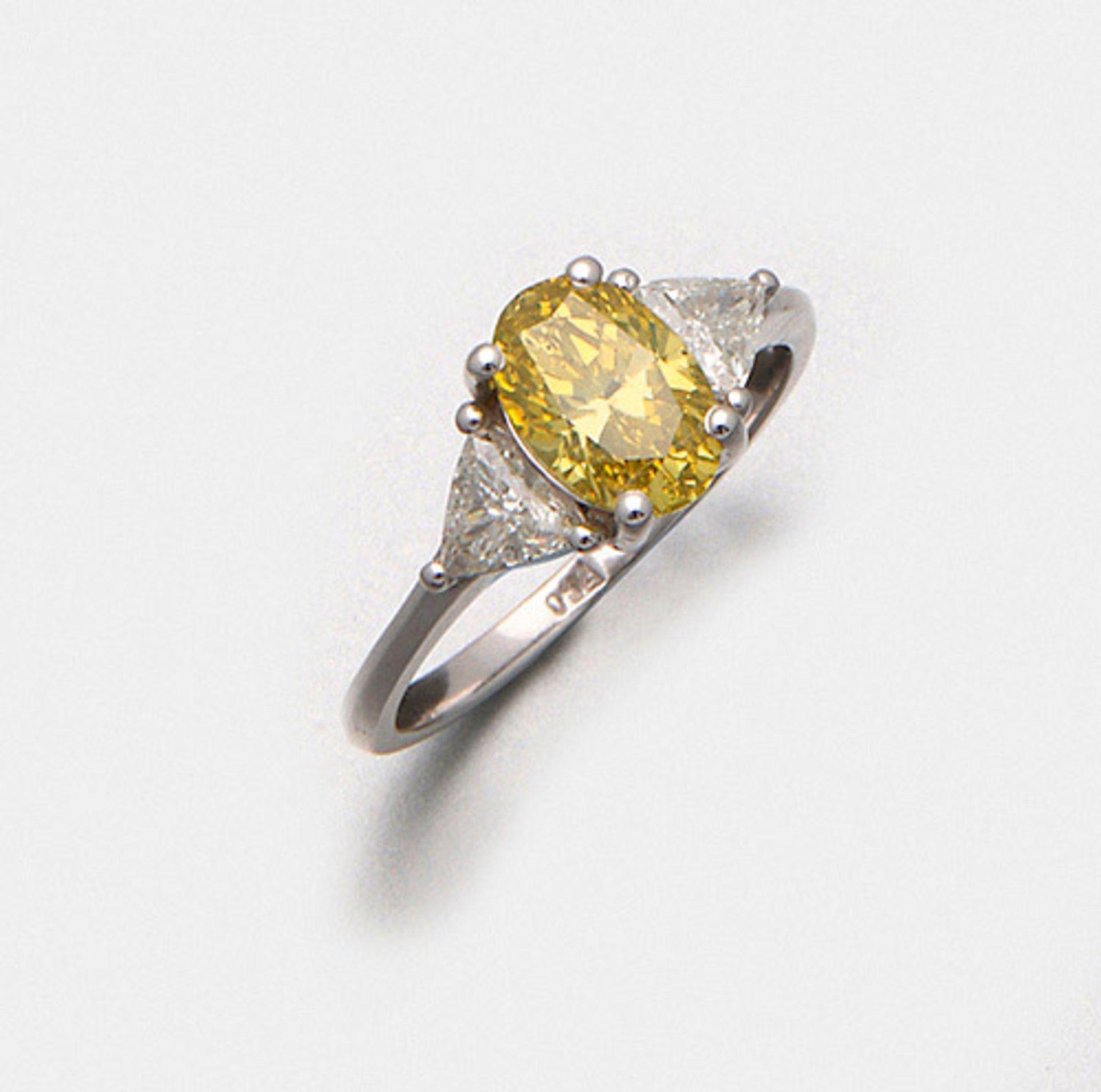 Hochfeiner Fancy-Vivid-Yellow-Diamant-Solitärring