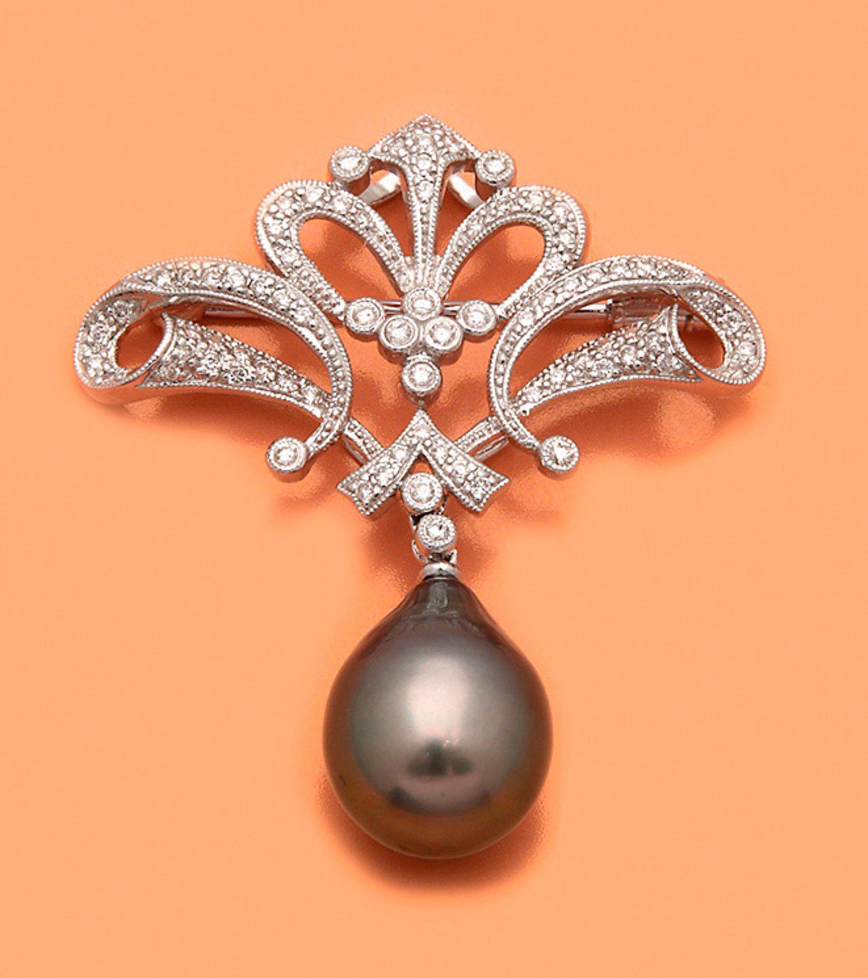 Tahitiperl-Diamantbrosche im viktorianischen Stil