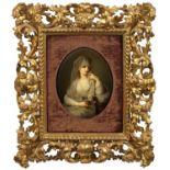 """Porzellangemälde """"Bildnis einer Dame als Vestalin"""""""