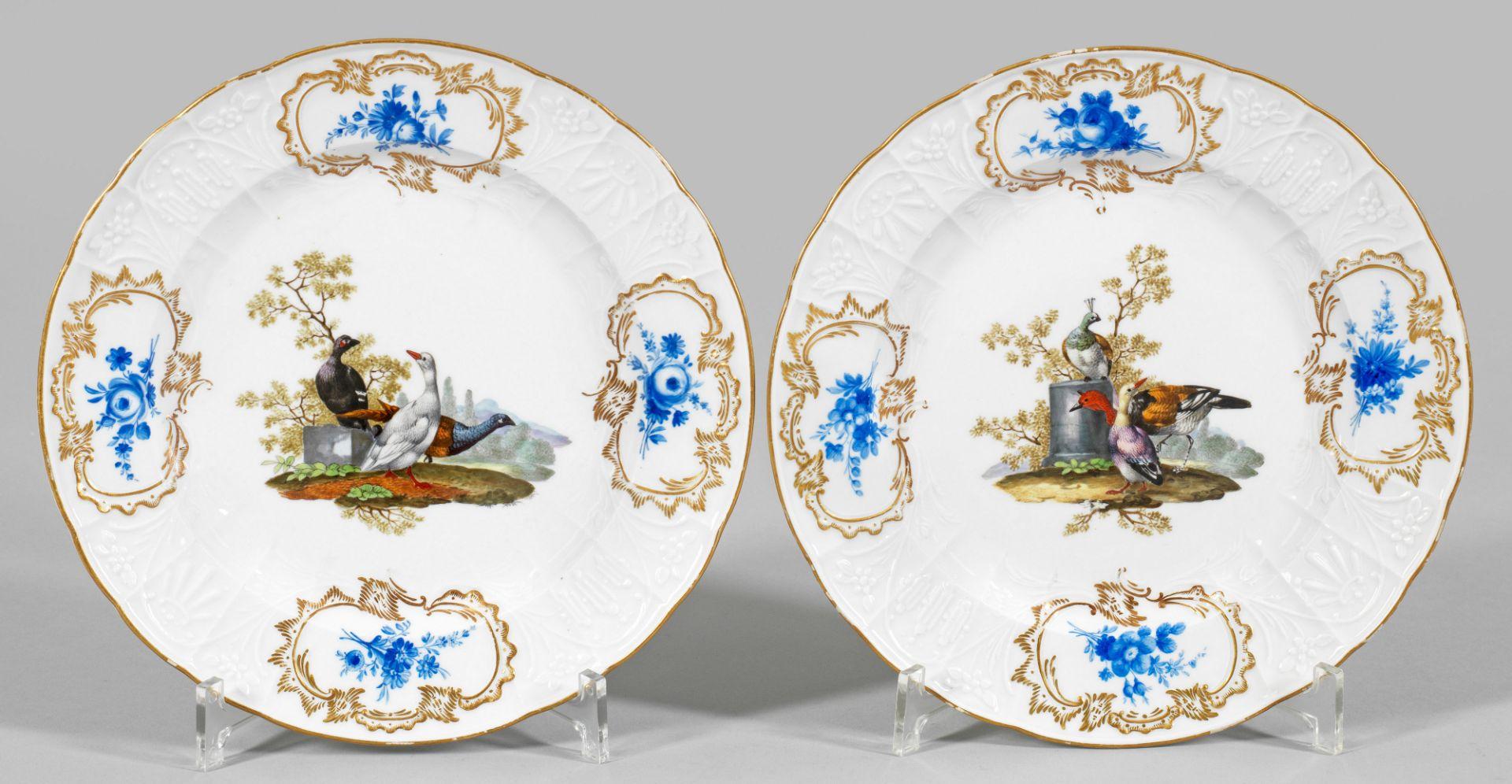 Paar Zierteller mit Vogeldekor - Bild 2 aus 2
