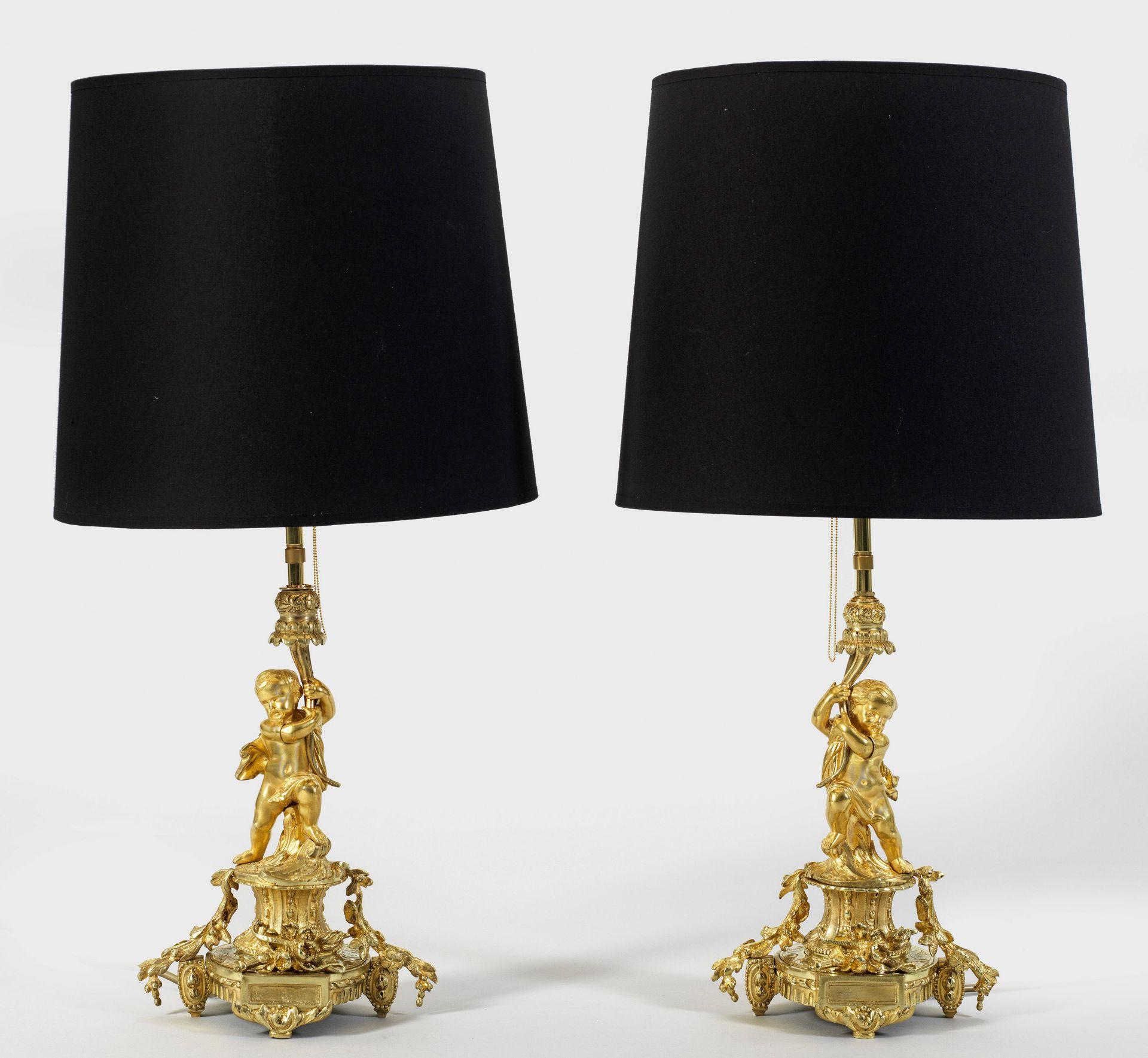 Paar Belle Epoque-Tischlampen