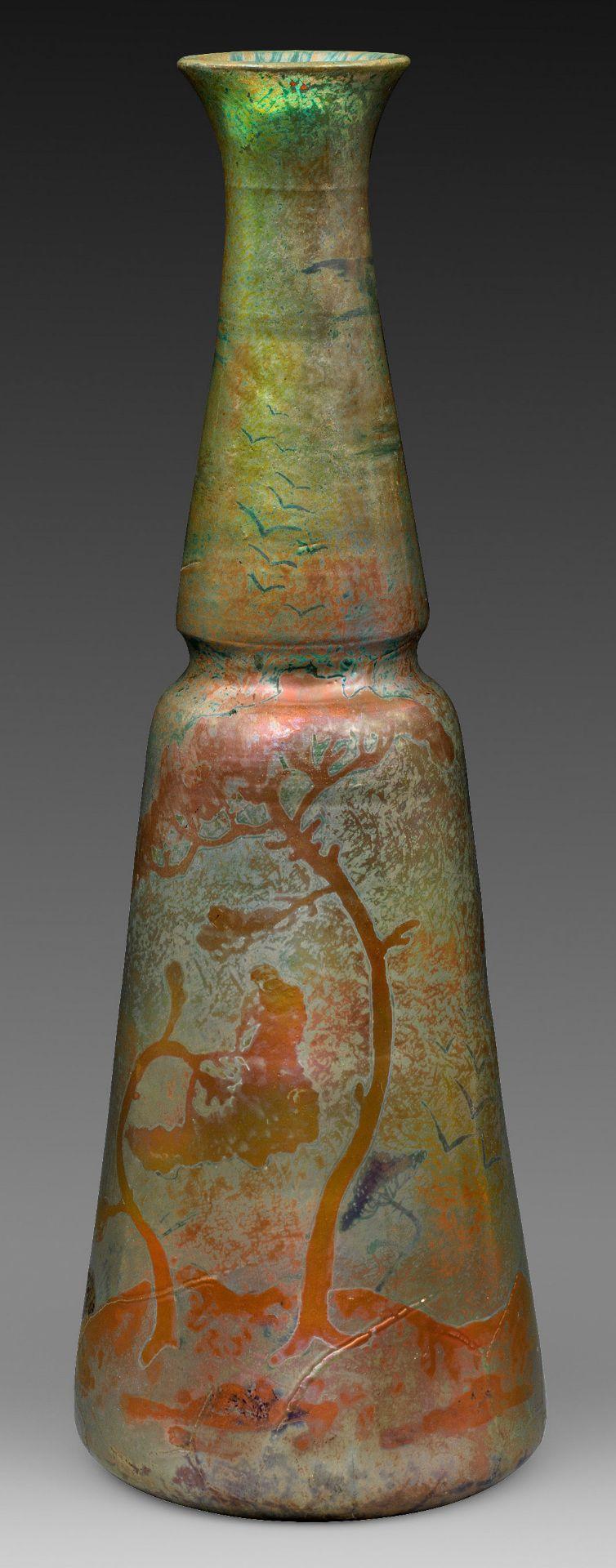 Große Jugendstil-Vase mit Landschaft von Dominique Zumbo