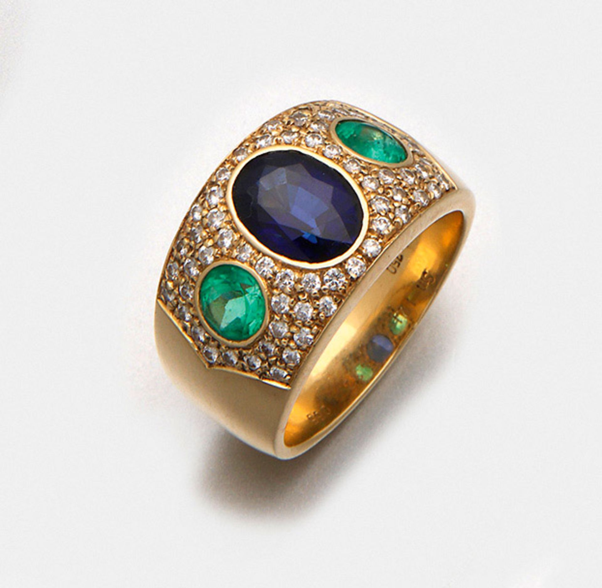 Repräsentativer Saphir-Smaragdring