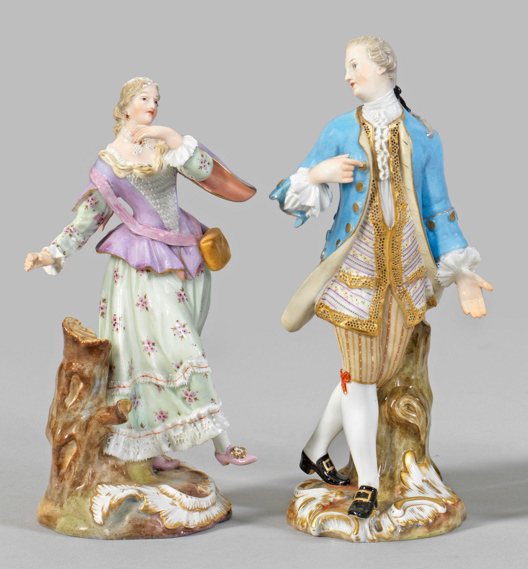 """Zwei Figuren """"Kavalier mit Hut"""" und """"Tanzende Schäferin"""""""