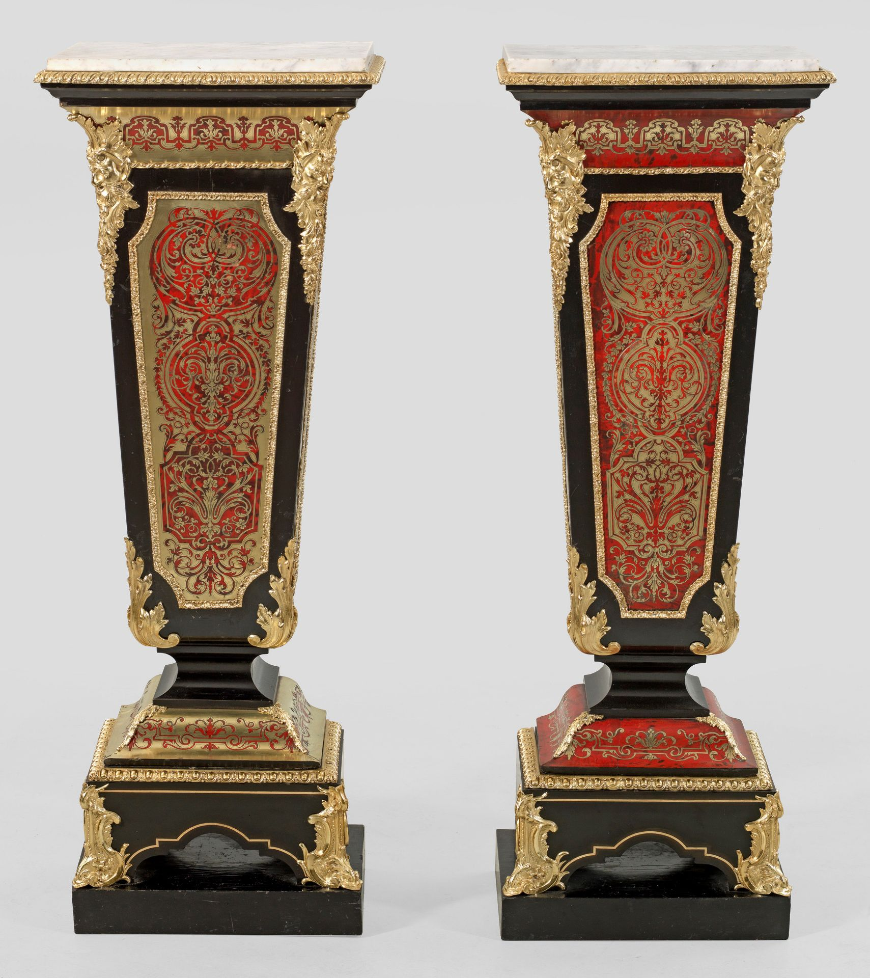 Paar große repräsentative Napoleon III-Boullepostamente