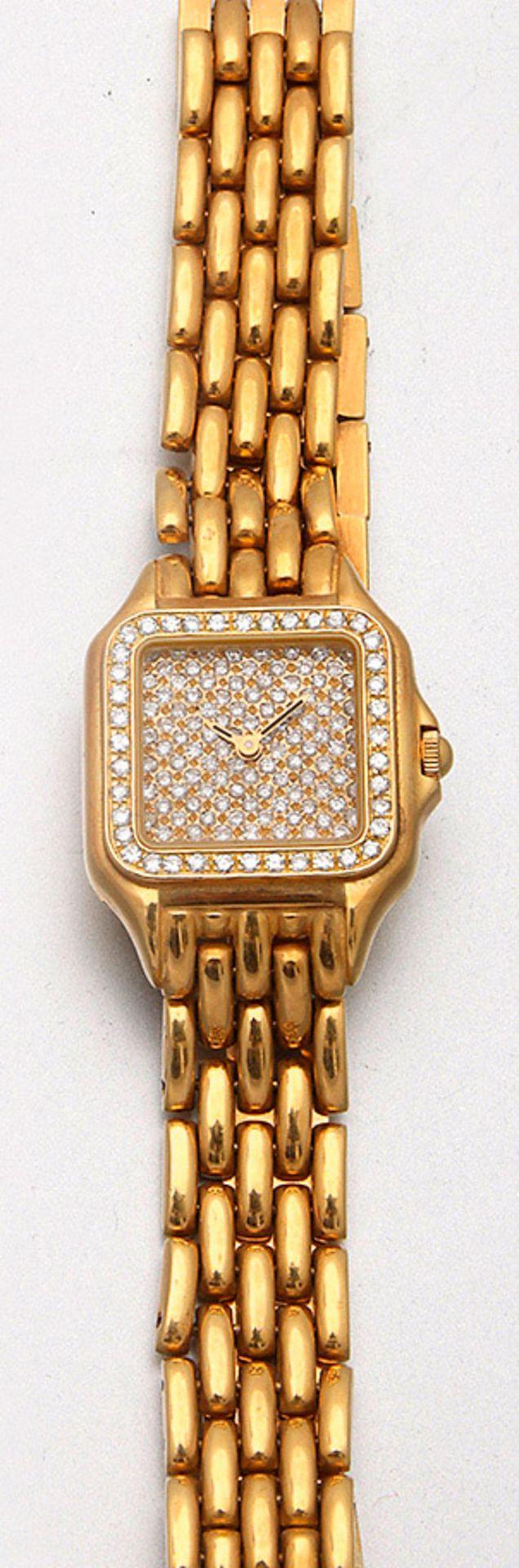Schmuckarmbanduhr mit Brillanten im Stil von Cartier