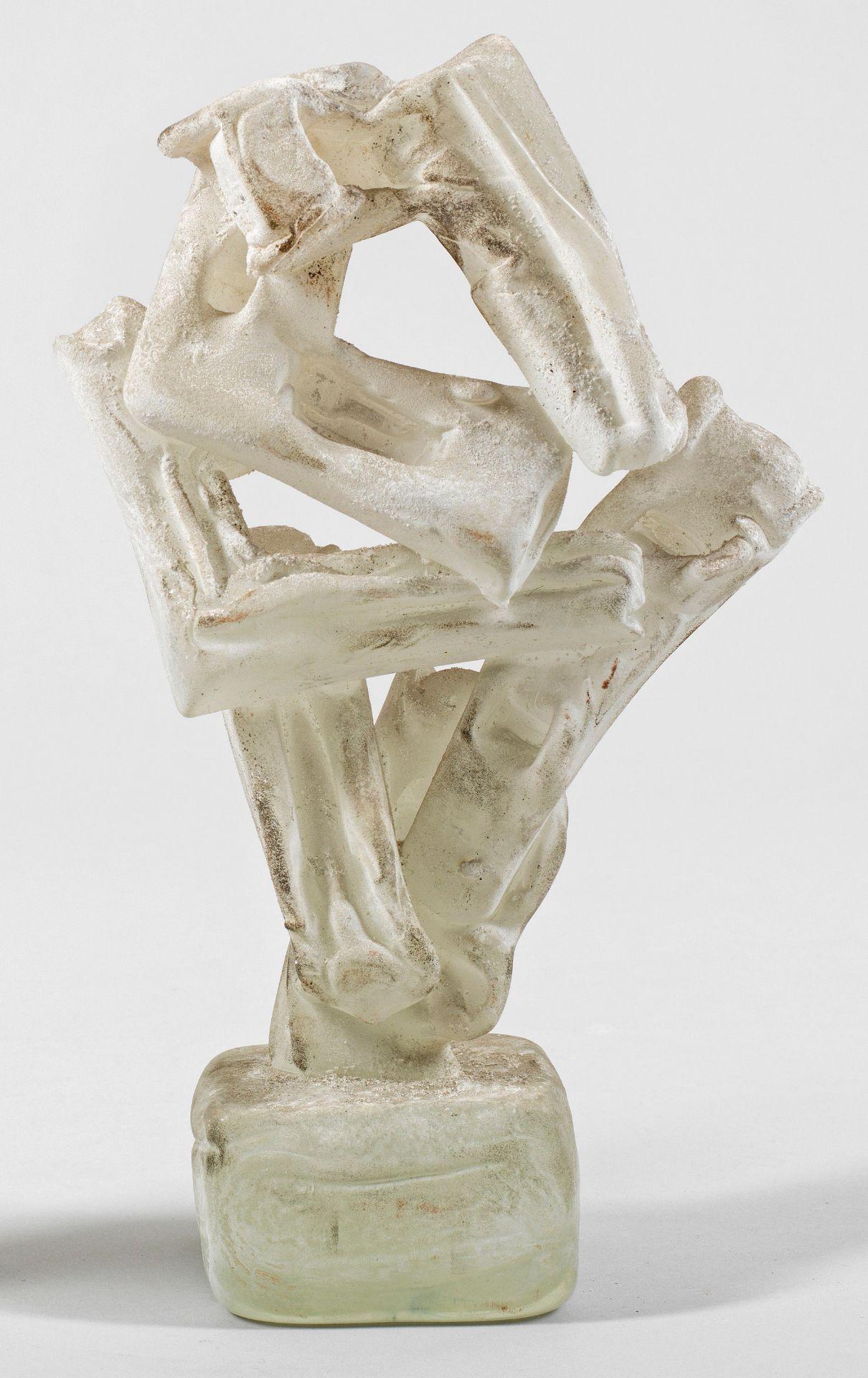 """Abstrakte """"Vetro a scavo""""-Glasskulptur von Ermanno Nason"""