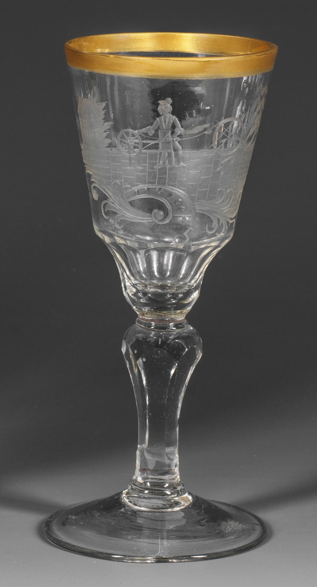 Schlesischer Rokoko-Pokal mit seltener Seiler-Darstellung