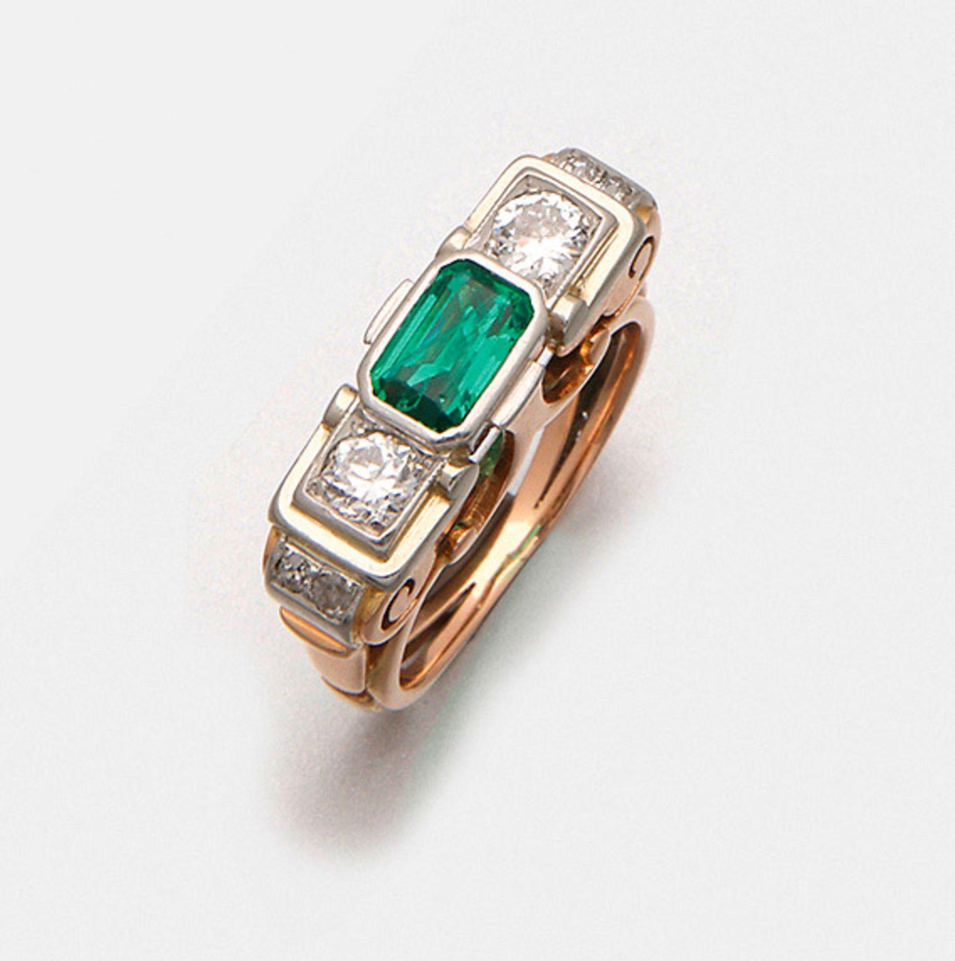 Smaragd-Diamantring aus den 30er Jahren