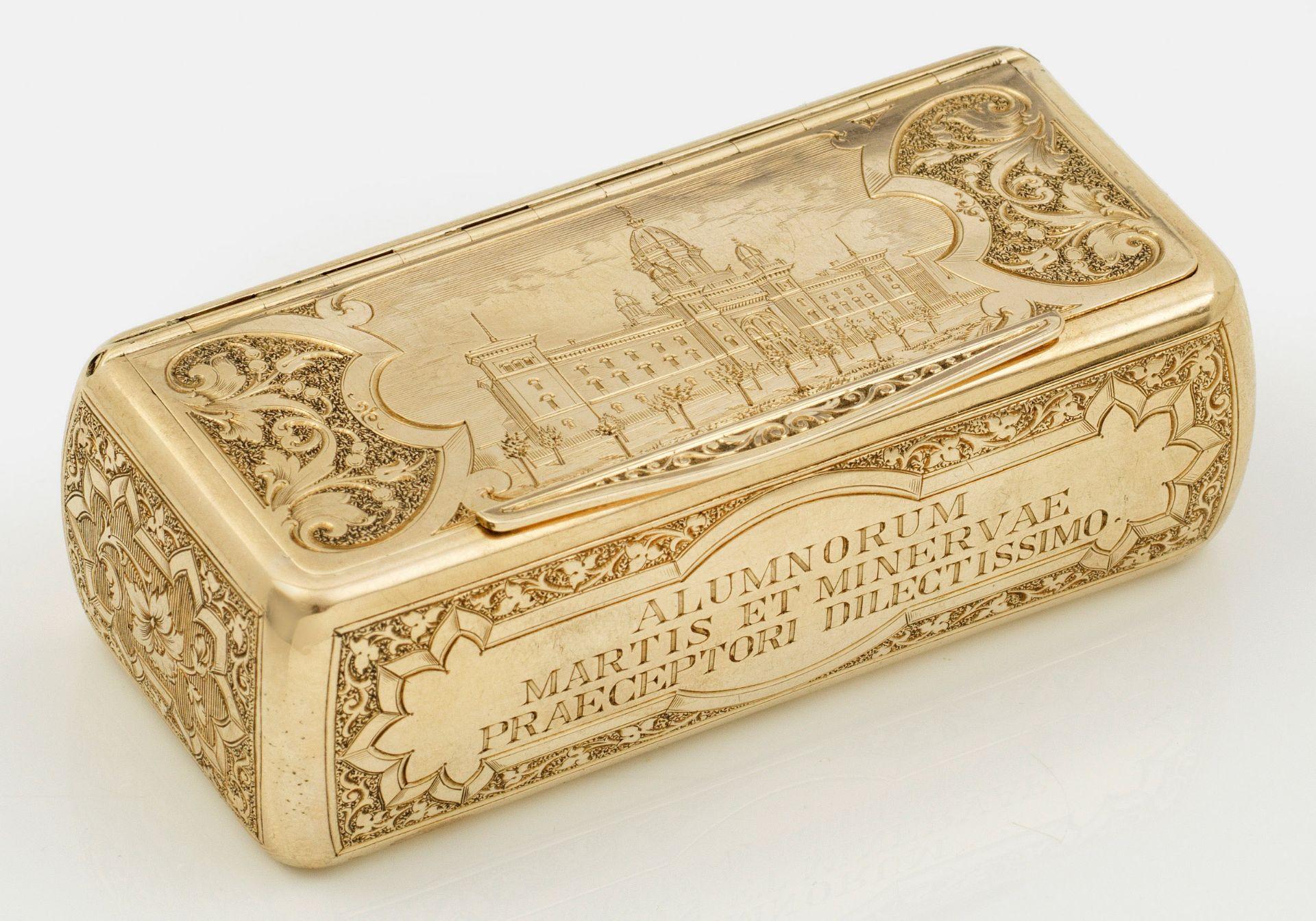 Seltene Goldtabatiere mit Ansicht