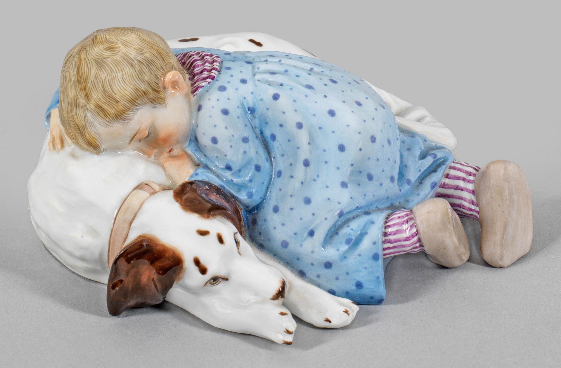 """""""Kind, auf einem liegenden Hund schlafend"""". Originaltitel"""