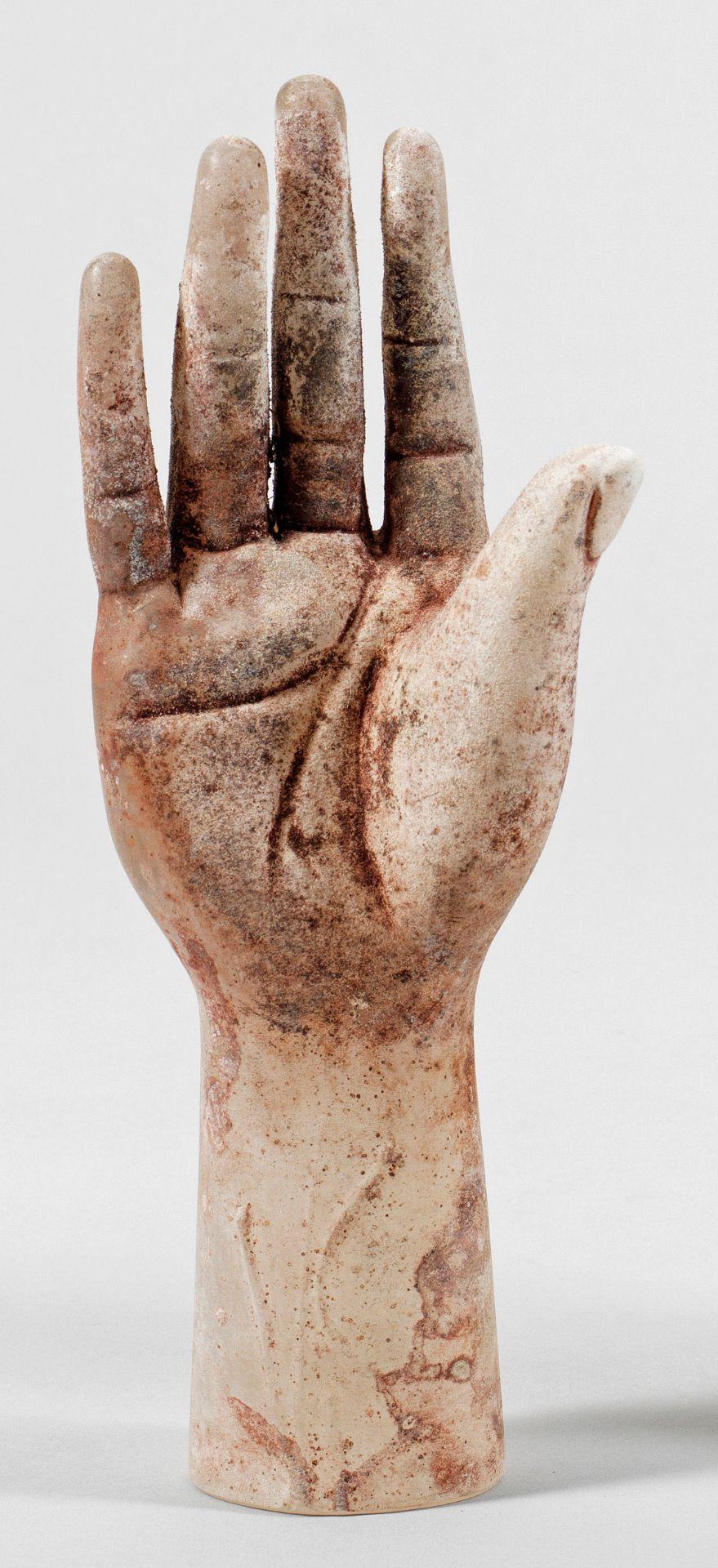 """""""Vetro a scavo""""-Glasskuptur einer Hand von Alfredo Barbini"""