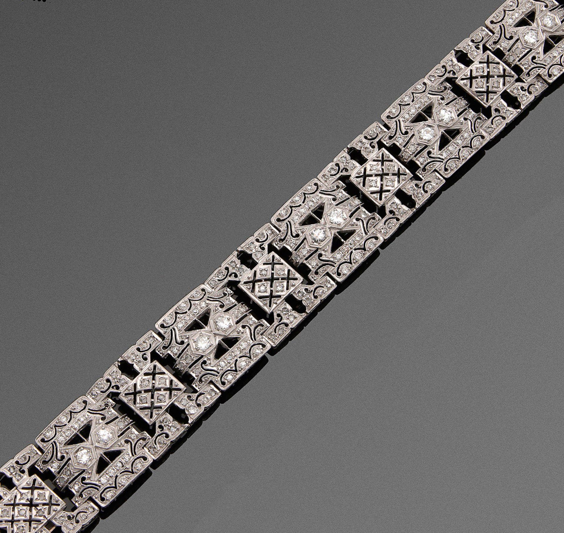 Art Déco-Diamant-Armband in Ajour
