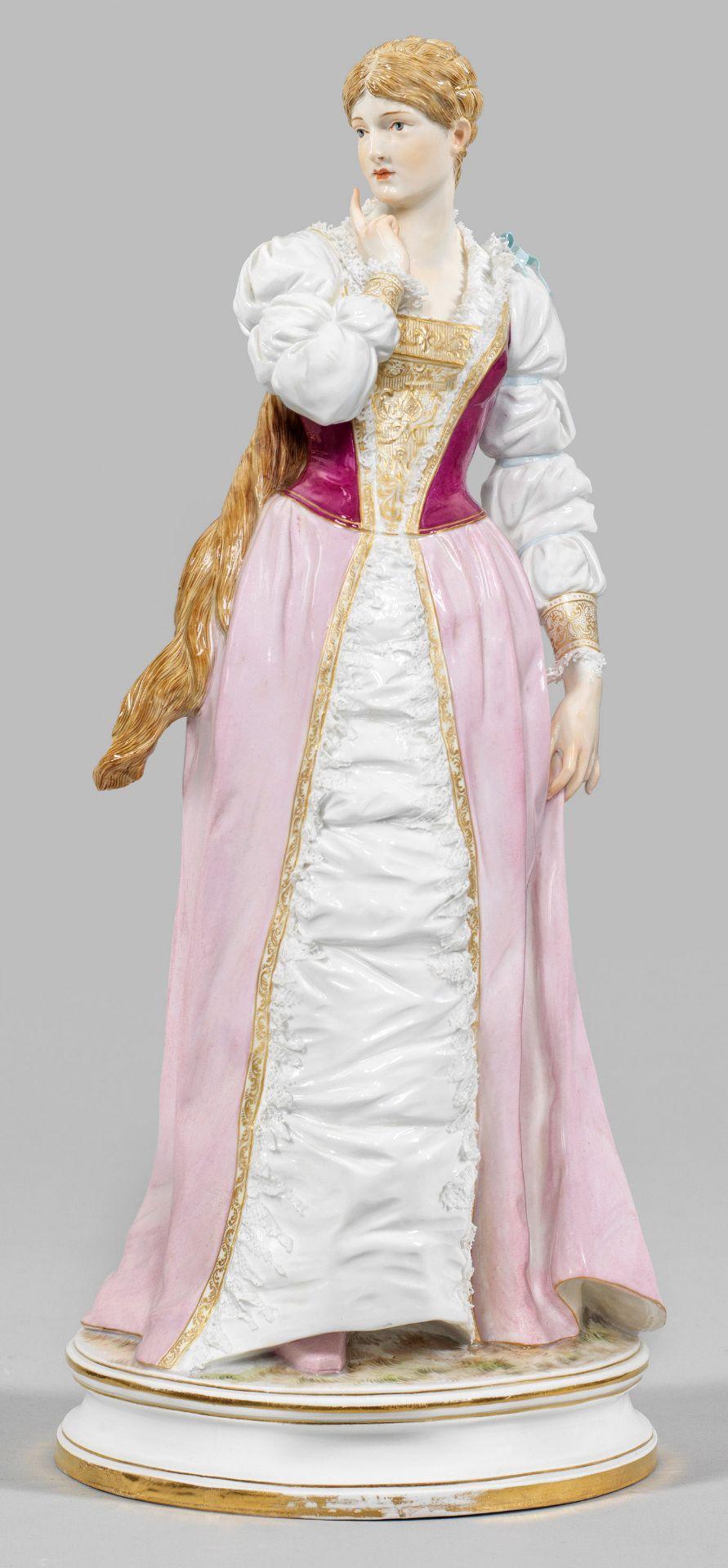Seltene Figur einer Dame im Kostüm
