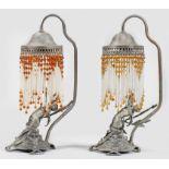 Paar figurale Jugendstil-Tischlampen mit Nymphen