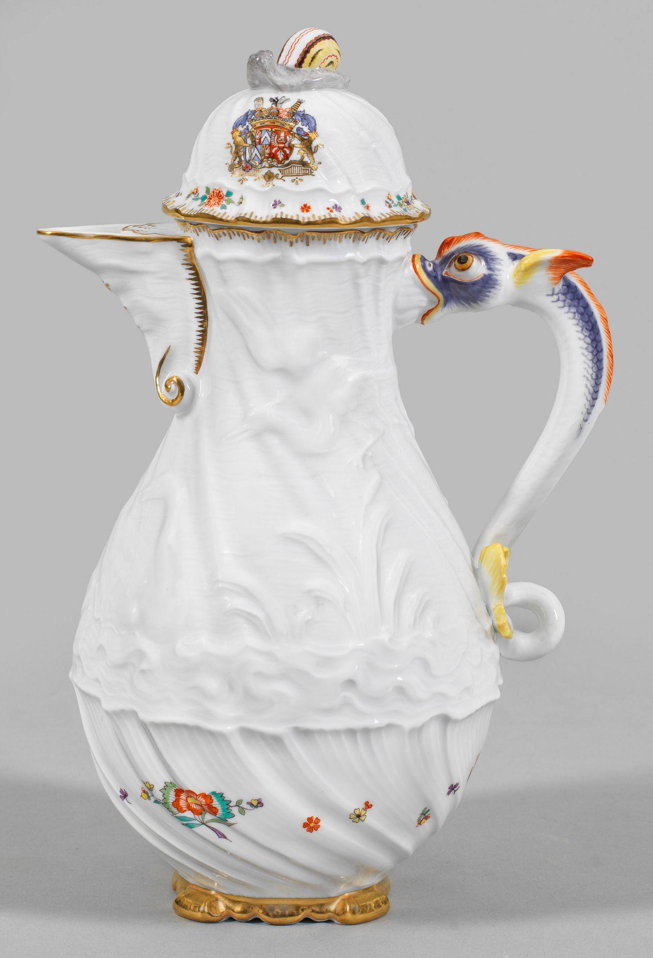 Kaffeekanne mit Schwanenservice-Dekor