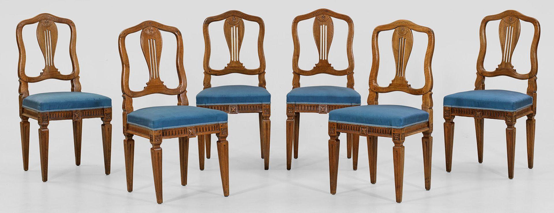 Satz von sechs Louis XVI-Stühlen