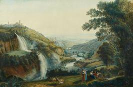 Deutscher Künstler um 1800<BR>Aniotal mit den Wasserfällen von Tivoli