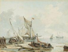 Petrus Johannes Schotel<BR>Uferlandschaft mit beladenen Booten und Segelschiffen