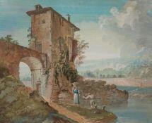 Bernardino Giuseppe Bison, zugeschrieben<BR>Zwei Landschaften mit Ruinen und pastoraler Staffage