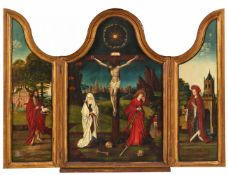 Brügger Meister um 1500<BR>Triptychon mit der Kreuzigung Christi sowie dem hl. Johannes d. T. und de