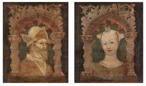 Bonifacio Bembo<BR>Zwei Bildnispaare, jeweils in gemaltem gotischem Spitzbogen eingefasst
