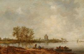 Jan van Goyen<BR>Küstenlandschaft mit Fähre und Turm im Hintergrund