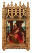 Marcellus Coffermans, zugeschrieben<BR>Thronende Madonna mit Kind und drei Engeln