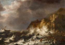 Simon de Vlieger<BR>Stürmische See mit Schiffbruch an felsiger Küste