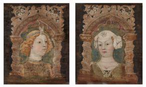 Bonifacio Bembo<BR>Bildnispaar, jeweils eingefaßt in gemaltem gotischem Spitzbogen