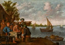 Abraham Willaerts<BR>Rastendes Fischervolk am Flussufer