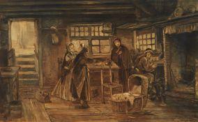 Johann Mari Ten Kate<BR>Kücheninterieur mit Kindern und Wiege