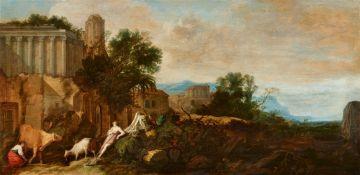 Moses van Uyttenbroeck (Wtenbrouck)<BR>Südliche Landschaft mit einem Schäferpaar vor antiken Ruinen