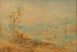Christian Anton Goering<BR>Tropische Landschaft mit einer Hacienda in Venezuela