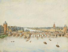Johann Ludwig Ernst Morgenstern<BR>Zwei Ansichten von Frankfurt mit Blick auf Main, Alte Brücke und