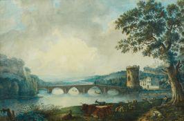 Deutscher Künstler um 1800<BR>Landschaft mit Brücke über einem Fluss (Arno?)