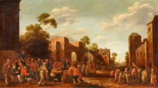 Joost Cornelisz. Droochsloot<BR>Dorfstraße mit den sieben Werken der Barmherzigkeit